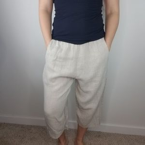 FLAX 100% Linen Capris Size Small